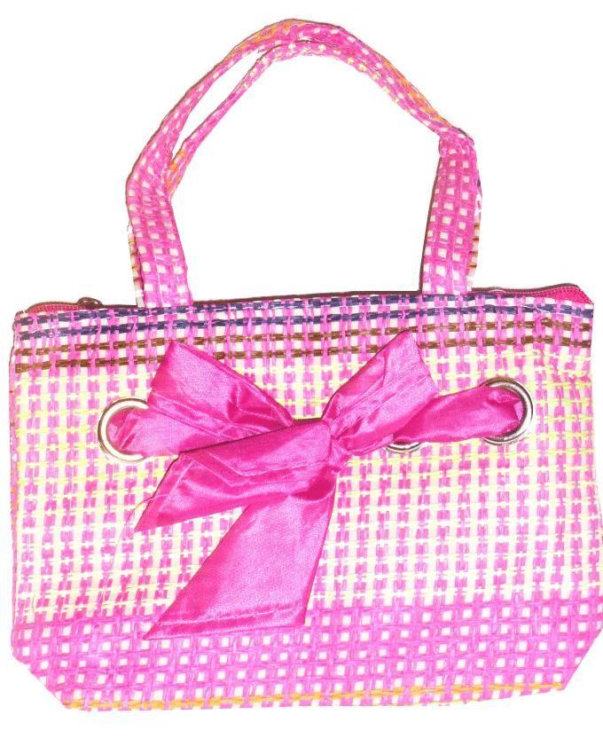 Friends Fuchsia Linen Handbag with a Decorative bow