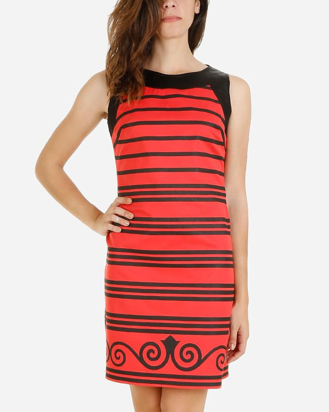Giro Striped Printed Gabardine\Cotton Shift Dress - Coral/Black