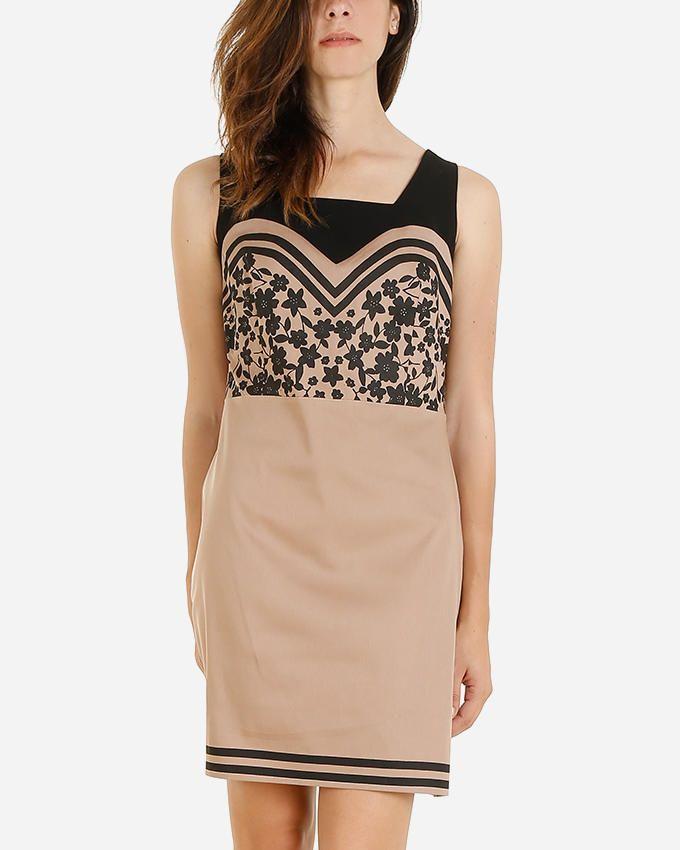 Giro Gabardine/Cotton Sleeveless Floral Printed Shift Dress - Beige\Black