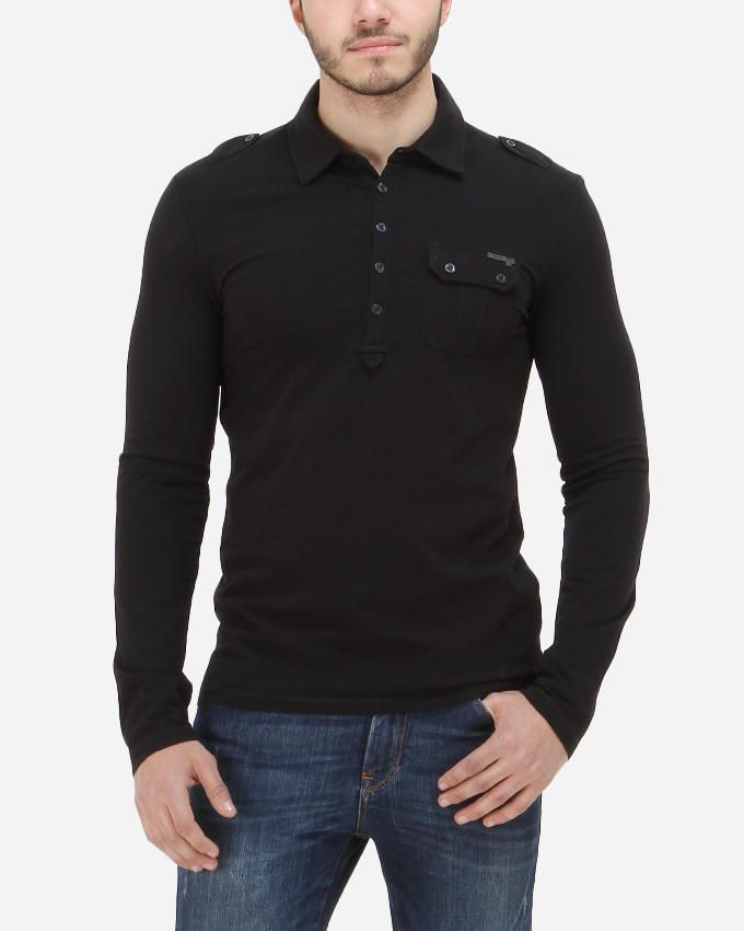 Guess Military Sleeved Polo - Black