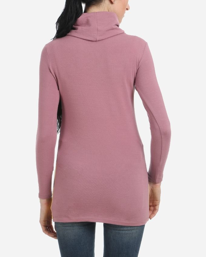Turtle Neck Printed Top - Dusty Pink