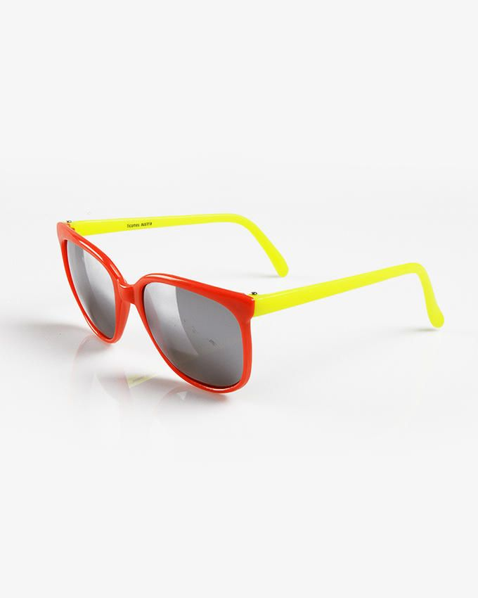Ticomex Dual Color Vintage Square Kids Sunglasses - Red Frame with Yellow Handles logo