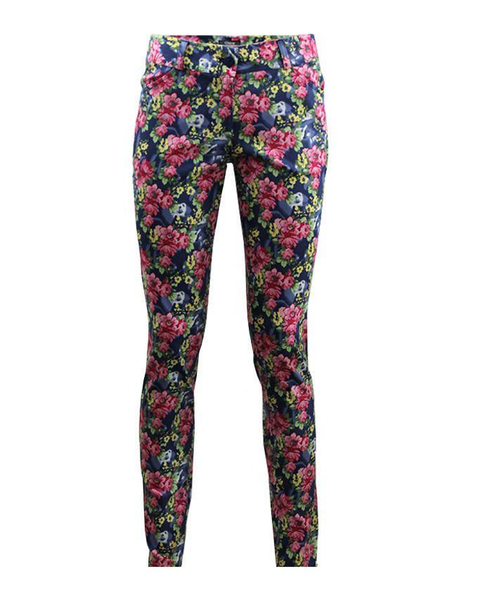 Giro Multicolour Gabardine/Cotton Floral Straight Pants
