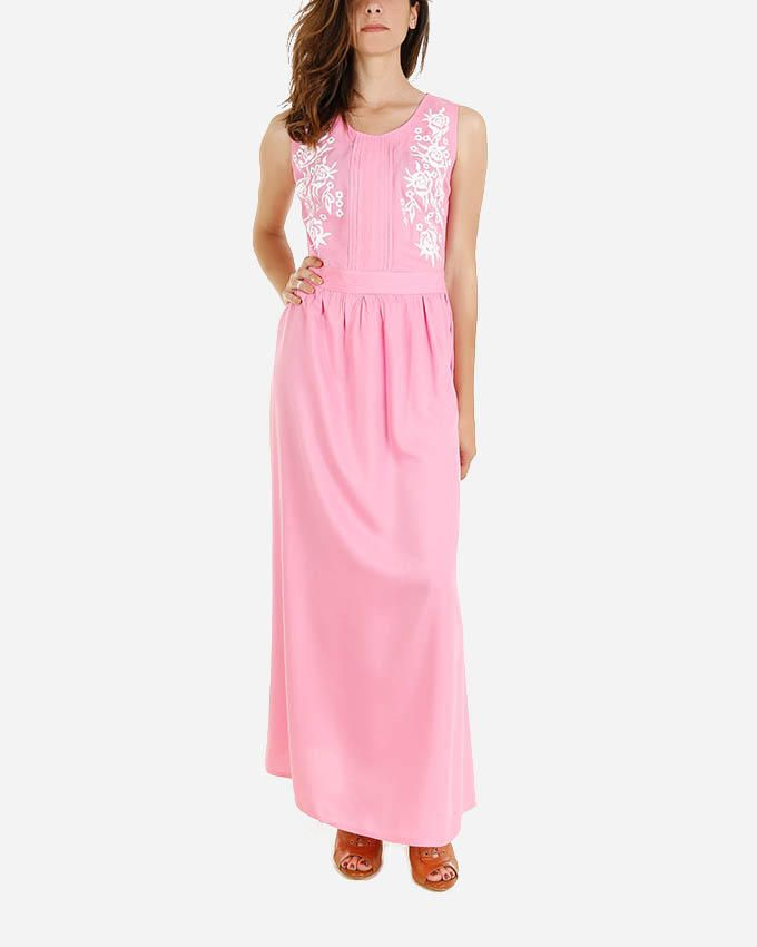 Giro Printed Maxi Dress -Pink