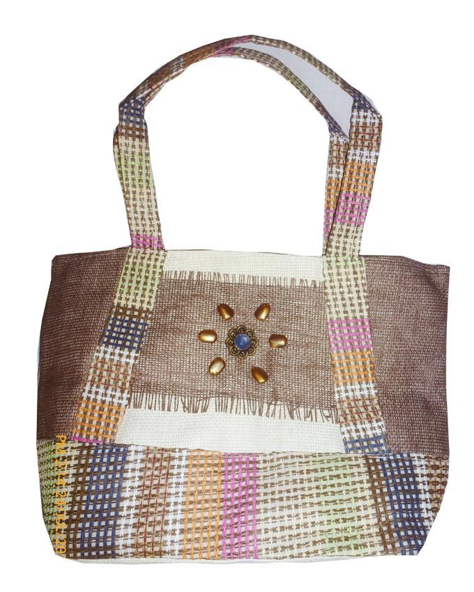 Friends Brown Multicolor Linen Hand Bag