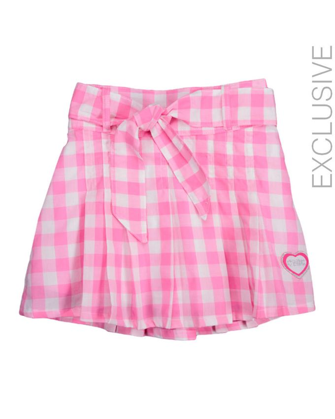 Stummer Pink & White Cotton Checkered Pleated Knee Length Skirt logo