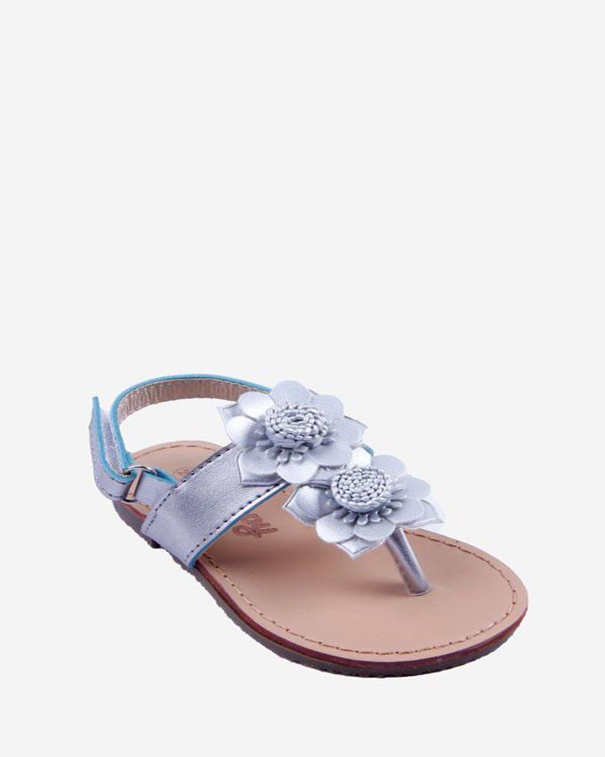 Skippy Girl Silver Flourish Slingback Flat Sandal