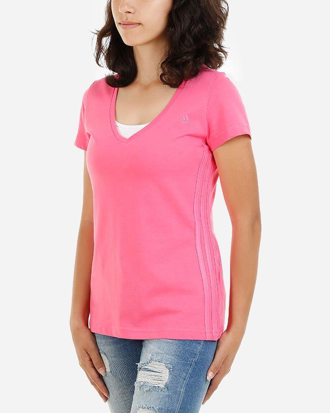 Adidas Essential Light V-Neck T-Shirt - Dark Pink