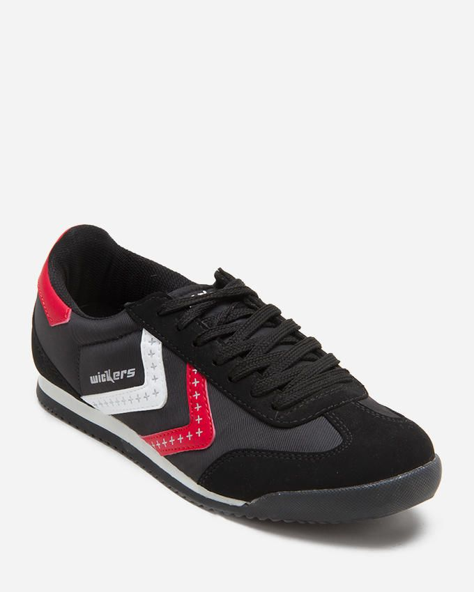 Wickers American Star Sneakers - Black & Red logo