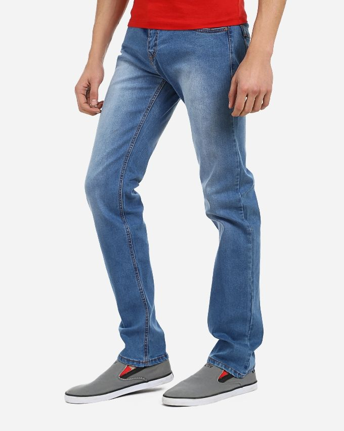 Straight Solid Pants - Light Blue
