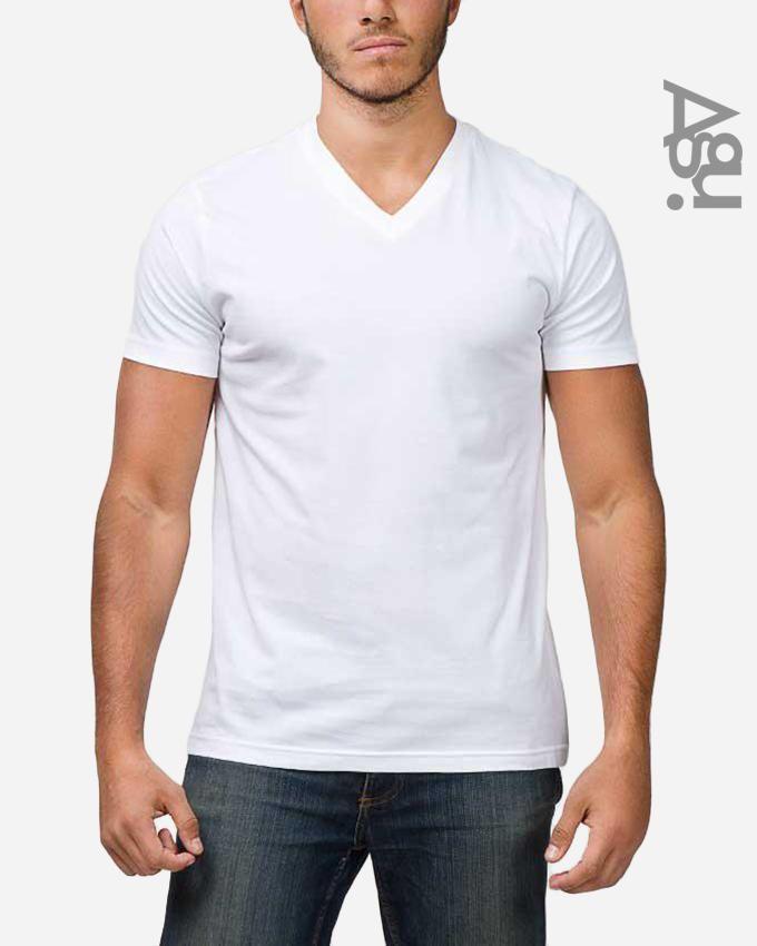 Agu Cotton V-neck Basic T-Shirt - White