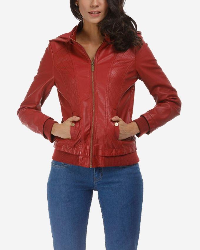 Blazers Jumia: Ravin Faux Leather Hooded Jacket - Burgundy