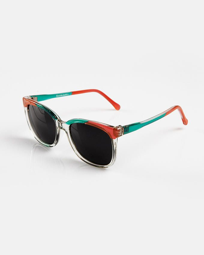 Ticomex Colorful Oval-Shaped Kids Sunglasses with Transparent Bottom Frame - Red & Green