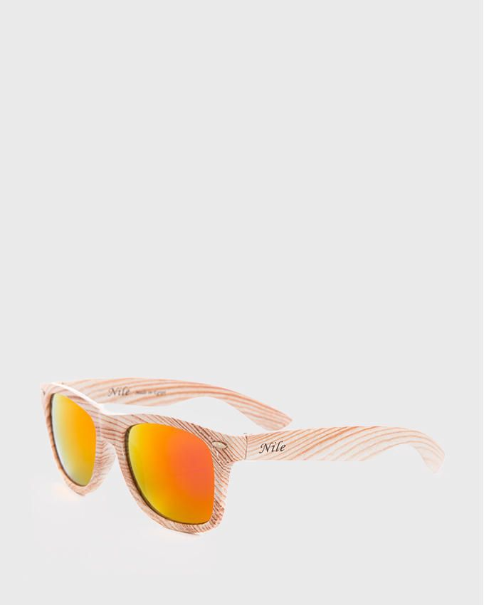 Nile Wooden Effect Flash Mirror Sunglasses - Fuchsia & Orange