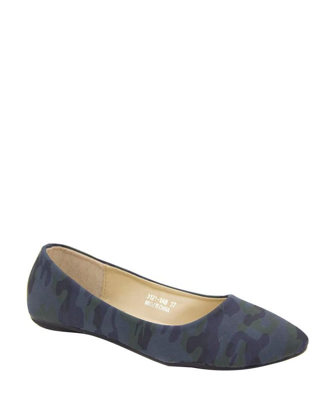 Walkies Navy Suede Camouflage Printed Ballerinas