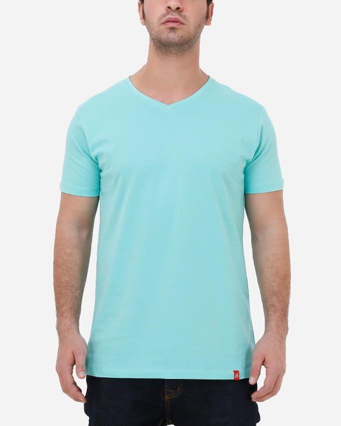 Kaf Cotton V Neck Basic T-Shirt - Lucite Green