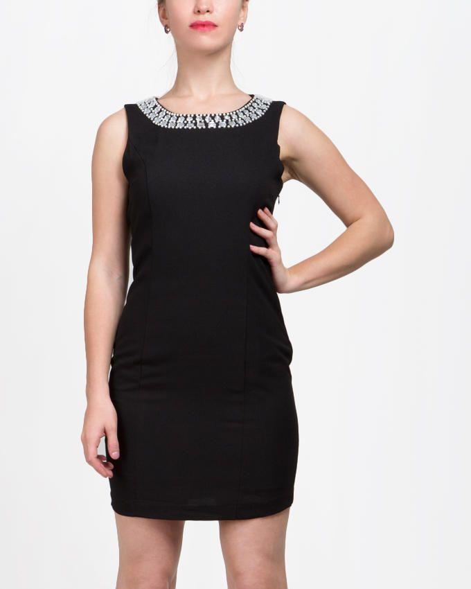 VERO MODA Upper Strass Sleeveless Dress - Black logo