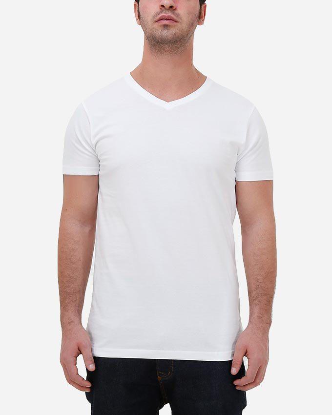 Kaf Cotton V Neck Basic T-Shirt - White