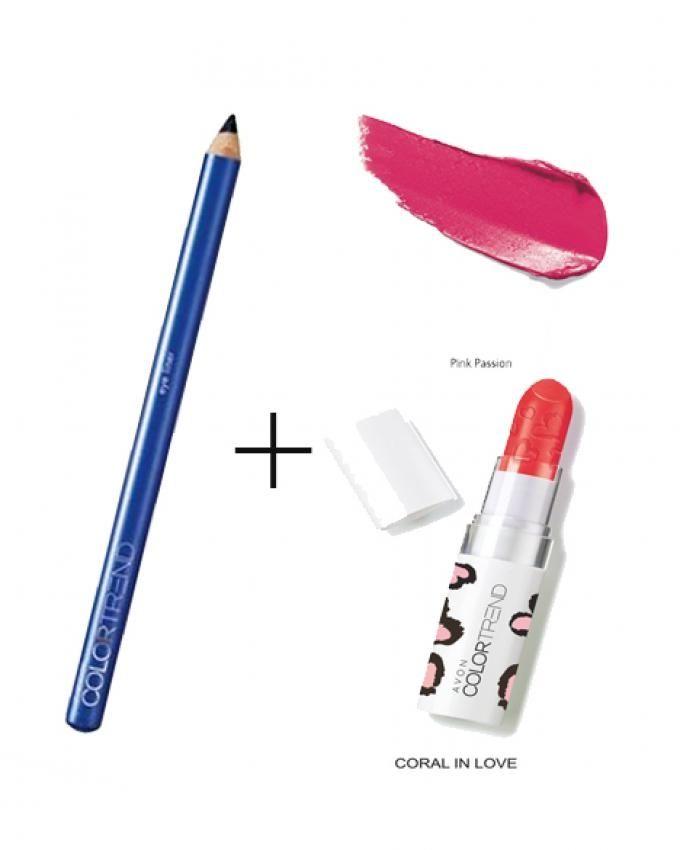 Color Trend Lipstick - Pink Passion + Color Trend Kohl Eye Liner - Midnight Blue