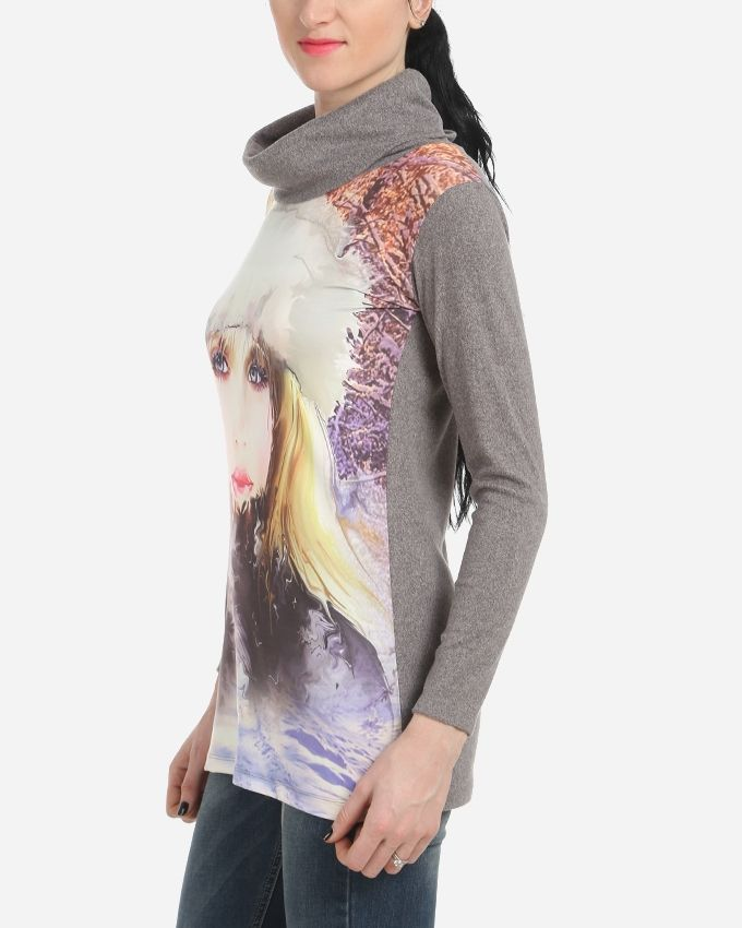 Lady printed Top - Heather Grey