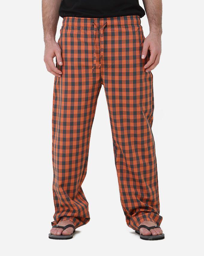 Kaf Antakha checked home pants - Orange/Black