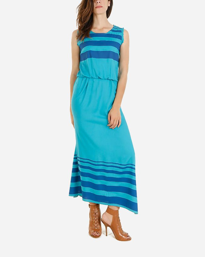 Giro Elastic Waist Striped Dress - Turquoise