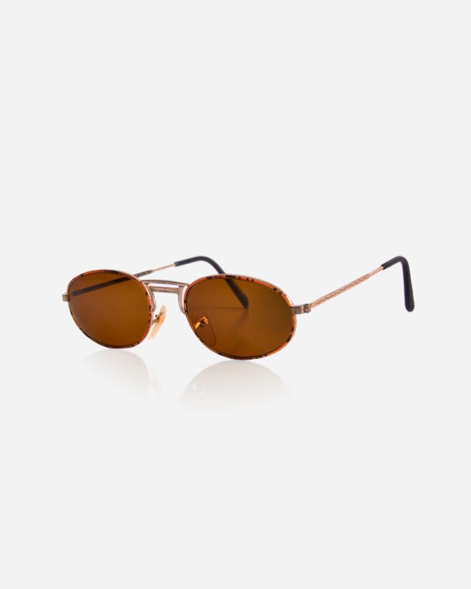 Ticomex Oval Shaped Unisex Sunglasses - Gold x Brown