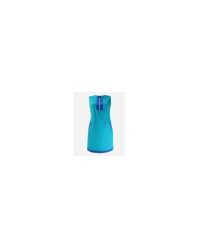 Giro Squared Pattern Gabardine\Cotton Shift Dress - Turquoise