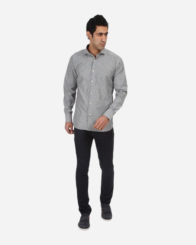 Striped Shirt - Grey & White