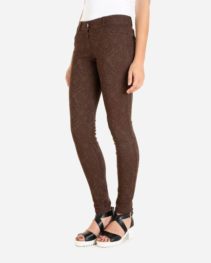 Giro Floral Pattern Skinny Pants - Brown