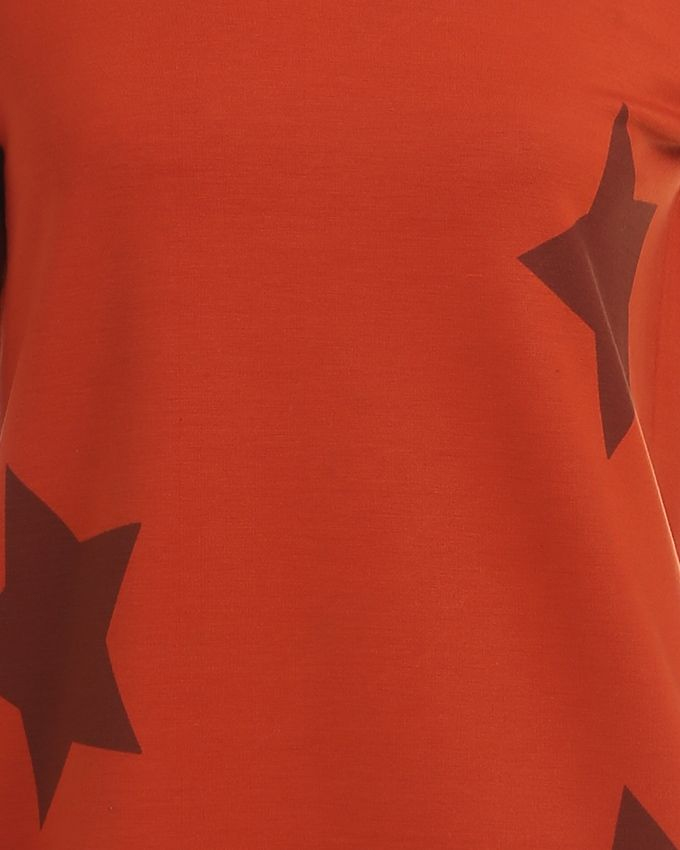 Stars Printed Top - Dark Burnt Orange