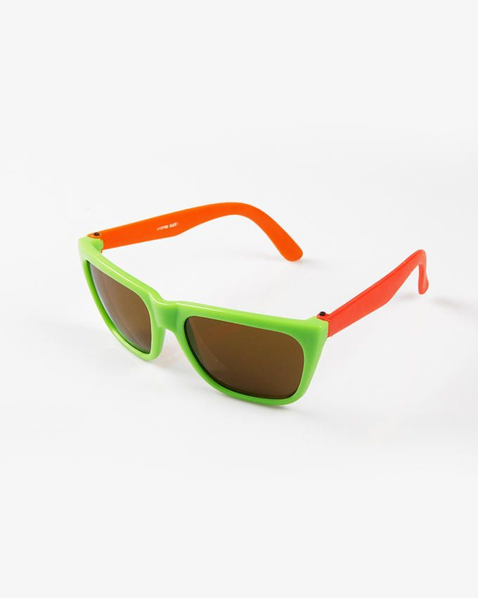 Ticomex Dual color Wayfarer Style Kids Sunglasses - Green Frame with Red Handles