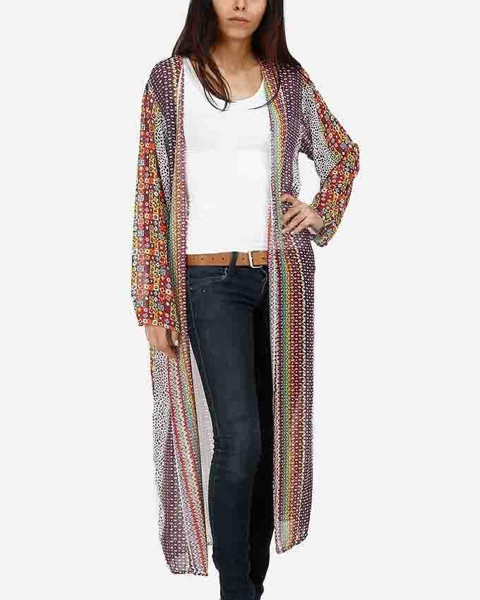 Be Positive Multicolor Abstract Kimono - Dark Purple logo