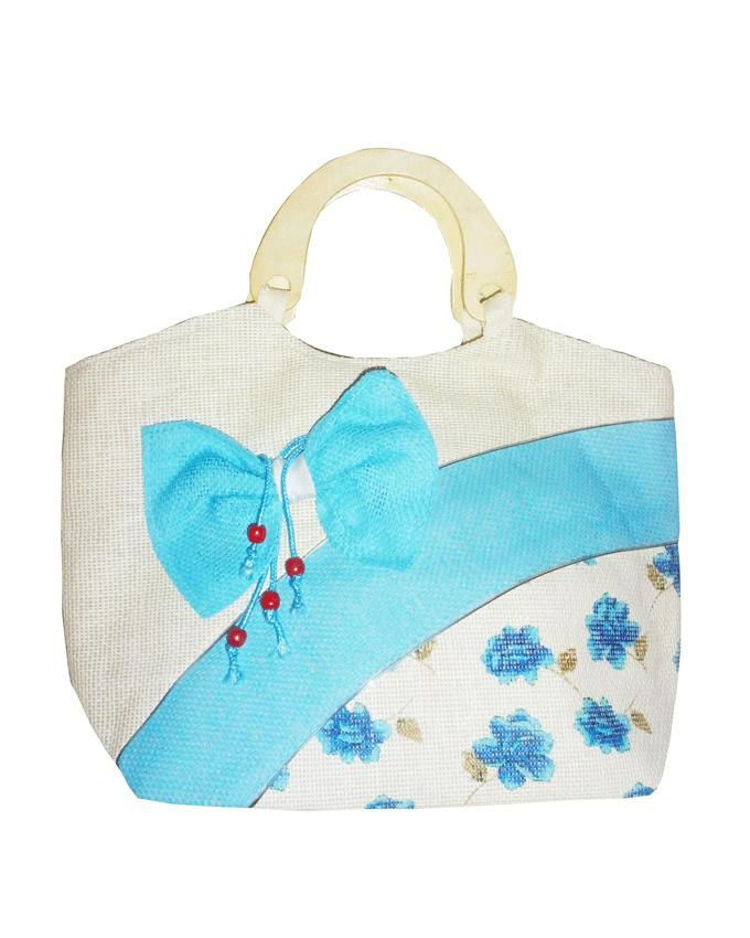 Friends Turquoise Linen Hand Bag with Decorative Bow