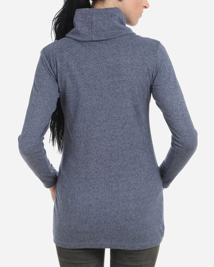 Turtle Neck Printed Top - Heather Blue