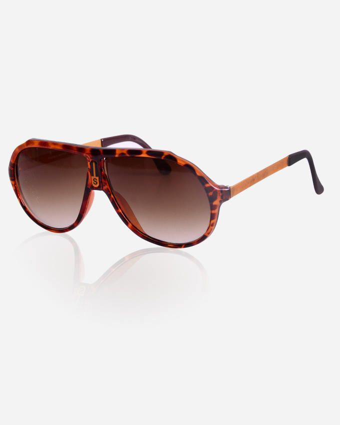 Ticomex Aviator Inspired men's Sunglasses - Havana with Gold Handles