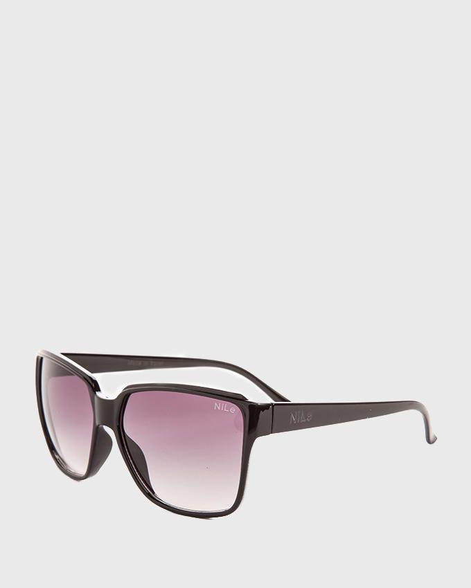 Nile Unisex Oversized Wayfarer Sunglasses - Black