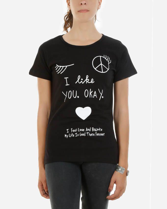 Be Positive I like You T-Shirt - Black logo