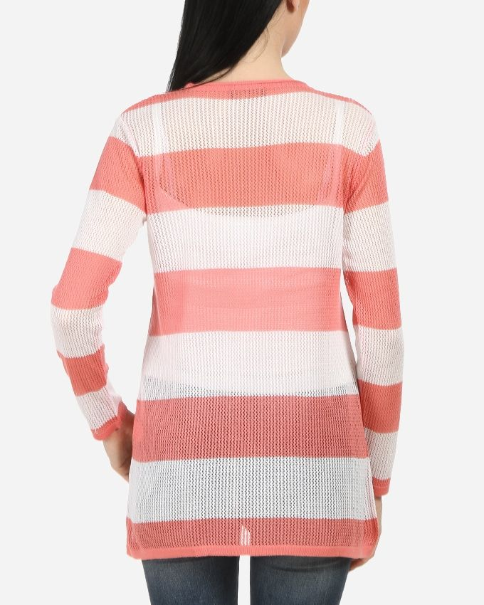 Knit Striped Top- Coral & White