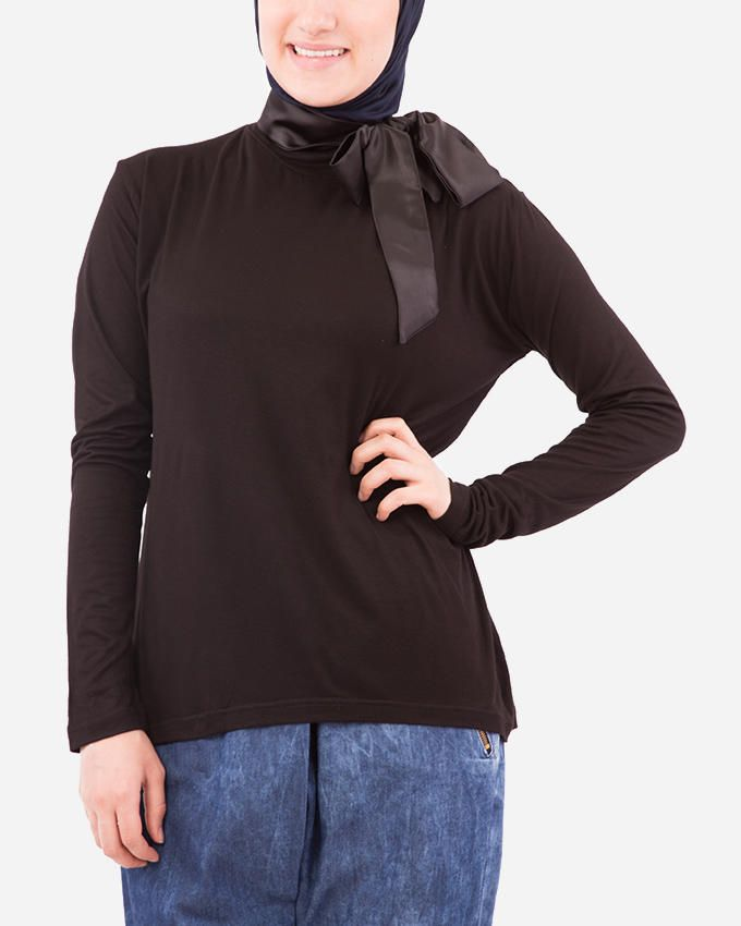 Glow Bow Collar Blouse - Black