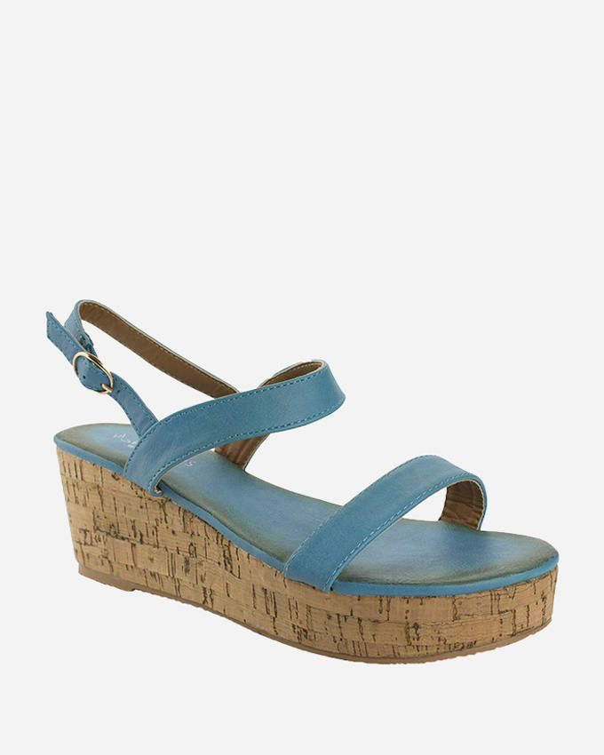 Walkies Blue PU Leather Basic confortable Wedge