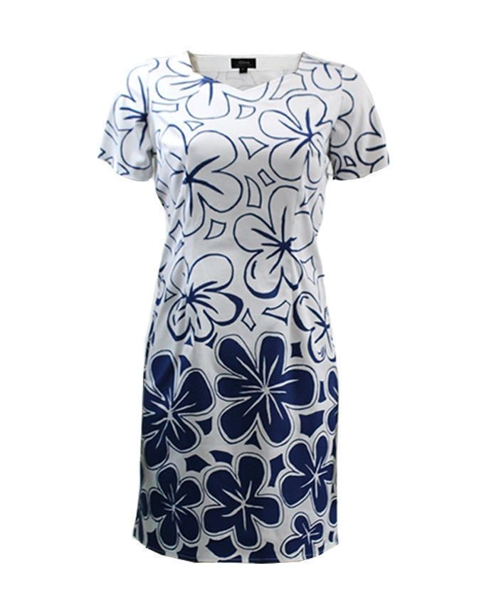Giro Navy & White Gabardine/Cotton Short Sleeve Floral Dress