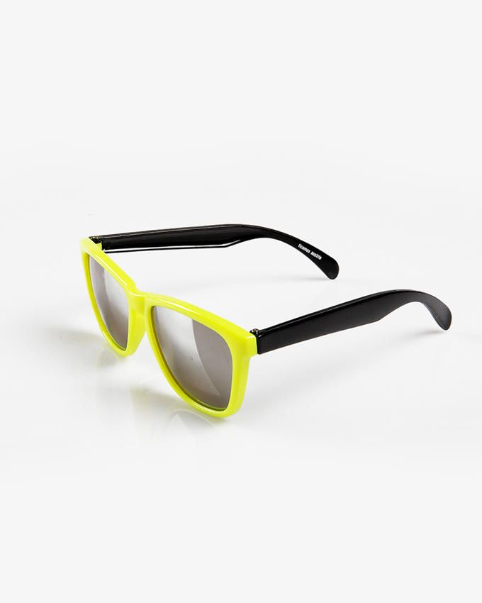 Ticomex Dual Color Vintage Butterfly Kids Sunglasses - Yellow Frame with Black Oversized Handles