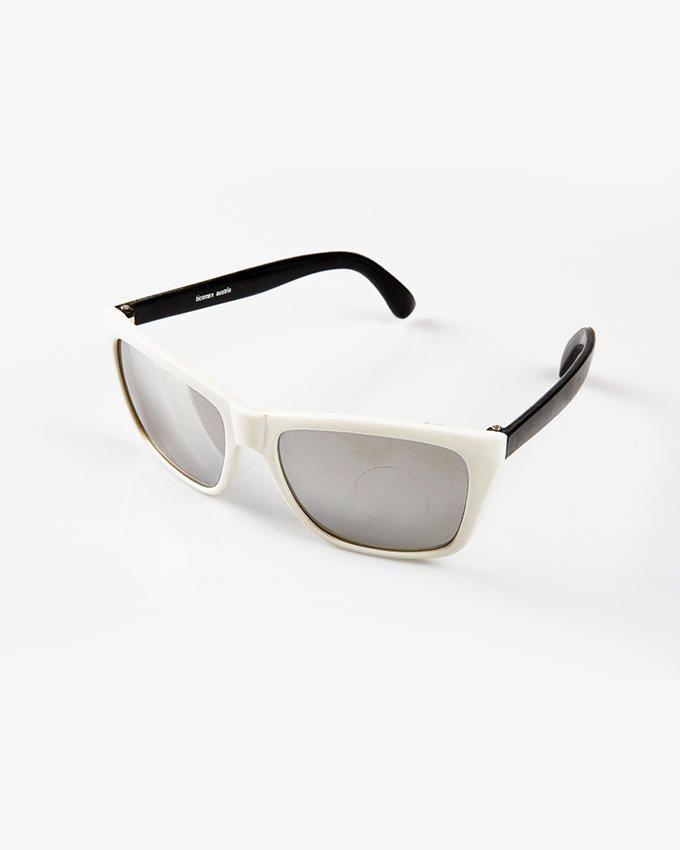 Ticomex Dual color Wayfarer Style Kids Sunglasses - White Frame with Black Handles
