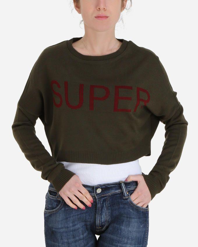 Hot Fashion Super Cropped Sweater - Olive logo