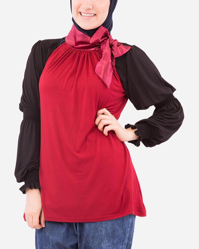Glow Long Satin Neck Top - Burgundy