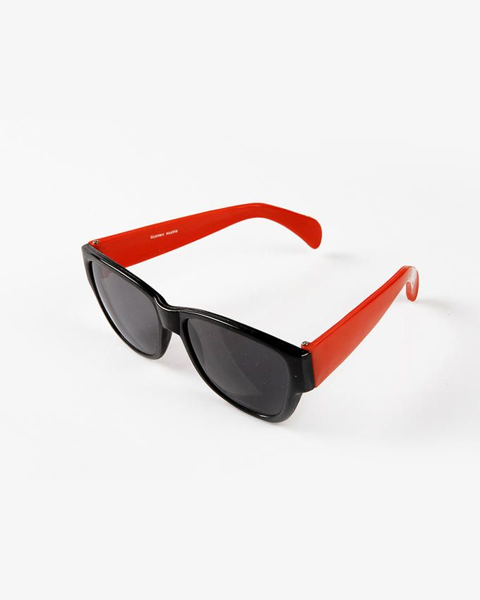 Ticomex Dual Color Oversized Retro Flat Kids Sunglases - Black Frame with Dark Red Handles