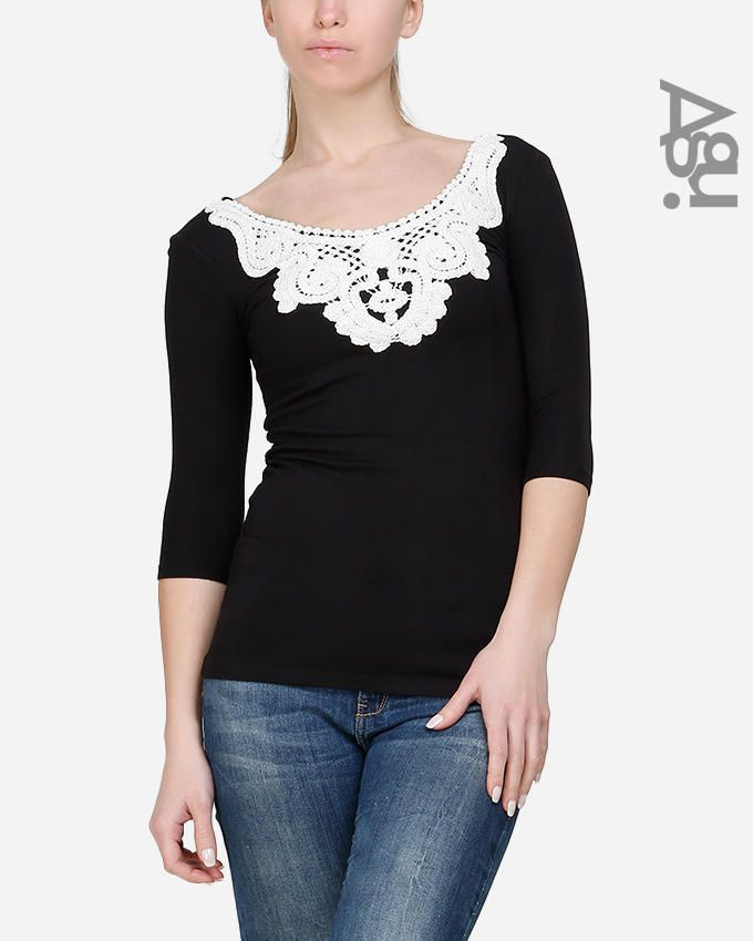 Agu Embroidery Collar 3/4 Sleeves Top - Black