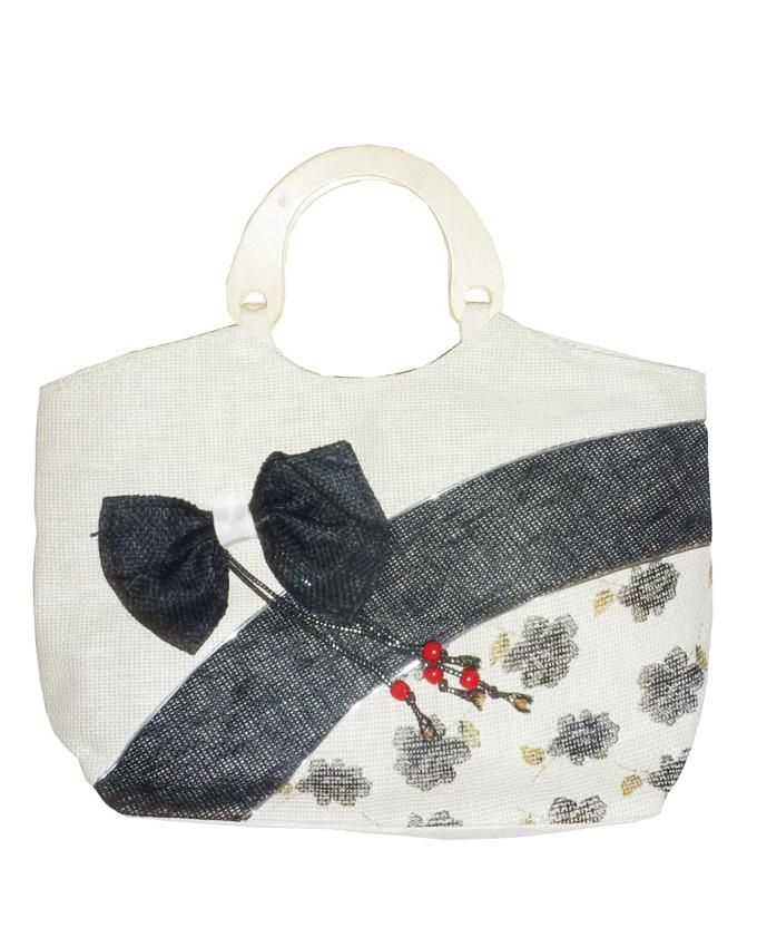 Friends Black Linen Hand Bag with Decorative Bow
