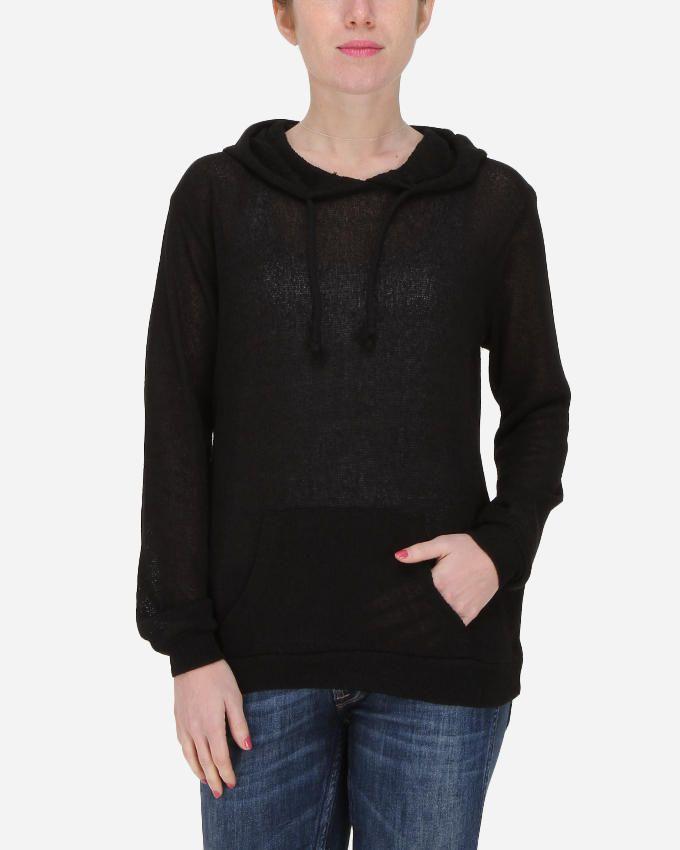 Hot Fashion Sheer Knitted Hoodie - Black logo